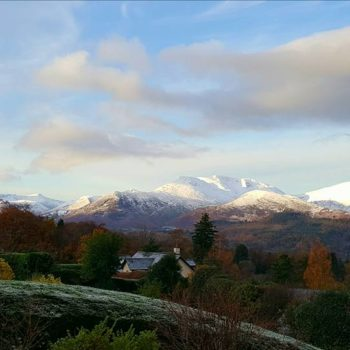 Snowy tops over Keswick, the Lake District