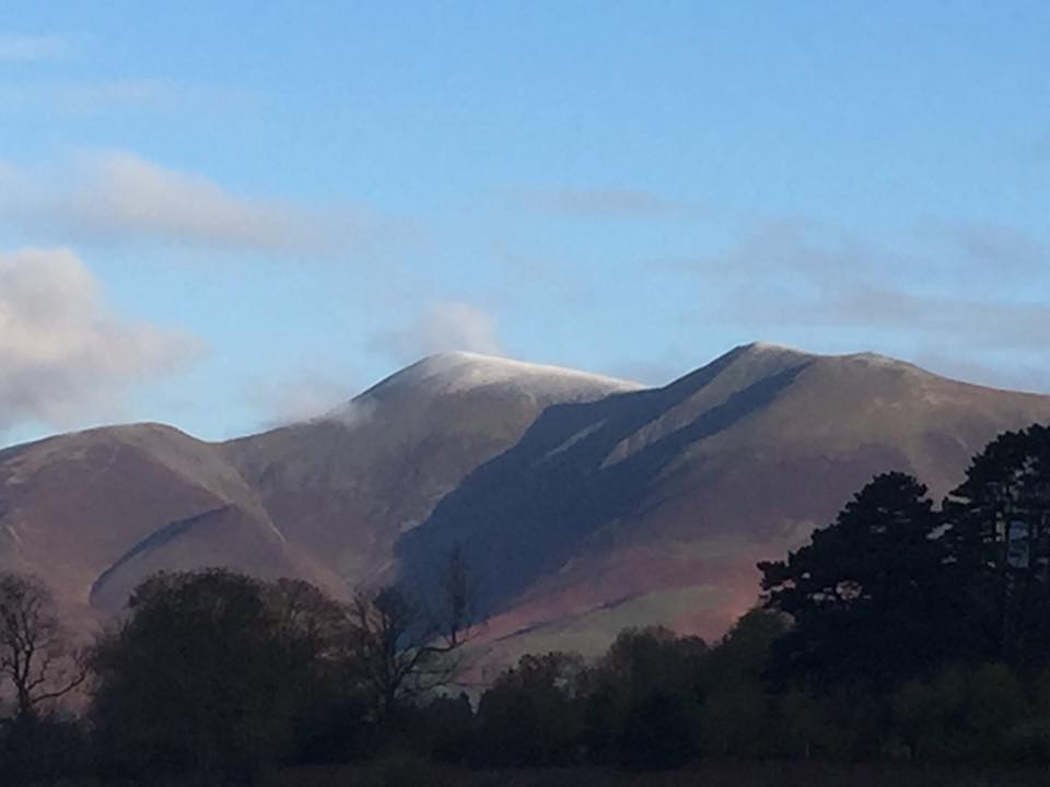 Winter snow on Skiddaw, view from Keswick