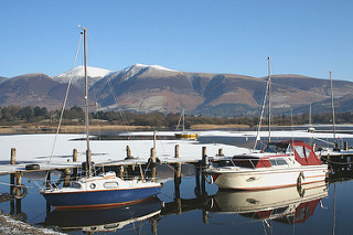 Winter on Derwentwater, keswick Cottages