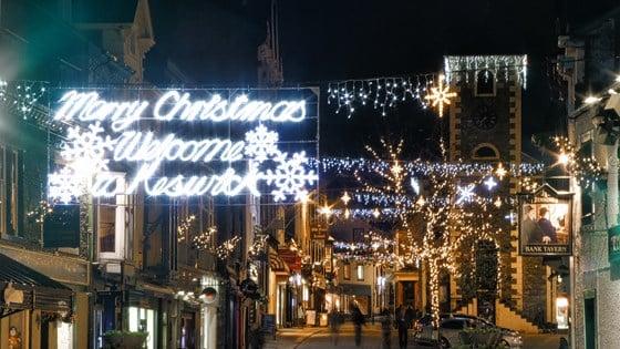Christmas lights Keswick Lake District